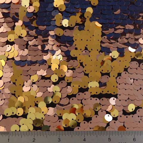 8mm Reversible Sequins Spandex Copper Gold on Black - NY Fashion Center Fabrics