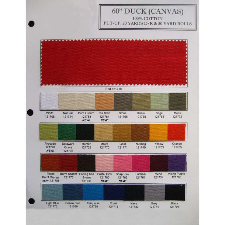Cotton Canvas (Duck) Fabric Color Card Cotton 10oz Duck Color Card - NY Fashion Center Fabrics