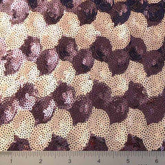 Circle Design Sequin Mesh Eggplant Tan - NY Fashion Center Fabrics