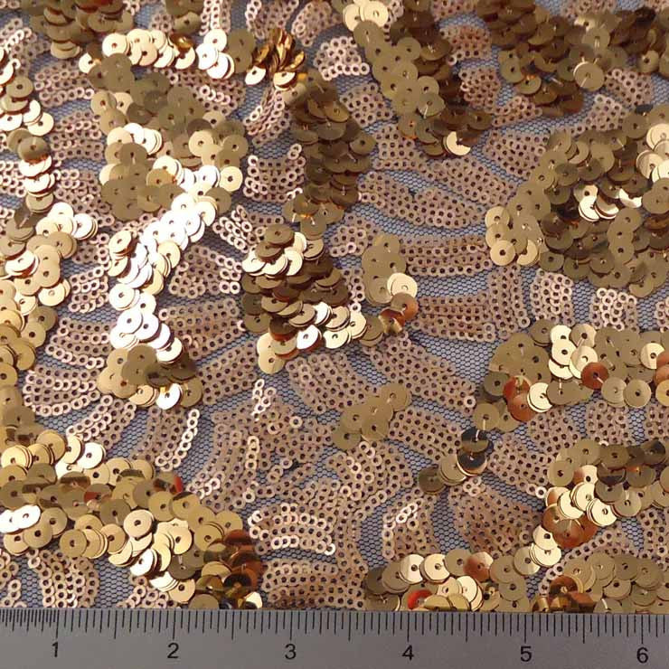 Gold Shiny and Matte Sequin Mesh Gold Copper - NY Fashion Center Fabrics