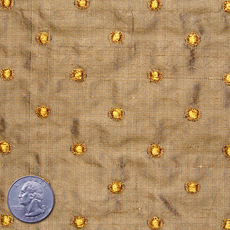 Silk Embroidered Dots Dupioni Gold On Tan