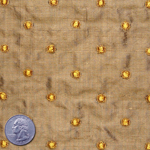 Silk Embroidered Dots Dupioni Gold On Tan Fabric By The
