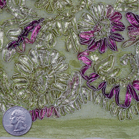 Fleurs Ribbon Lace Gold Silver Purple