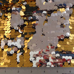 8mm Reversible Sequins Spandex Gold Silver on Black - NY Fashion Center Fabrics