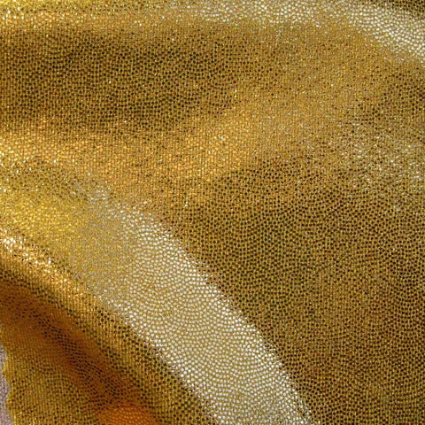 Foil Dotted Spandex 15 Yard Minimum Gold - NY Fashion Center Fabrics
