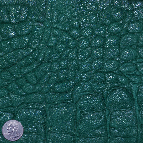 Crocodile Embossed Lamb Leather Green - NY Fashion Center Fabrics