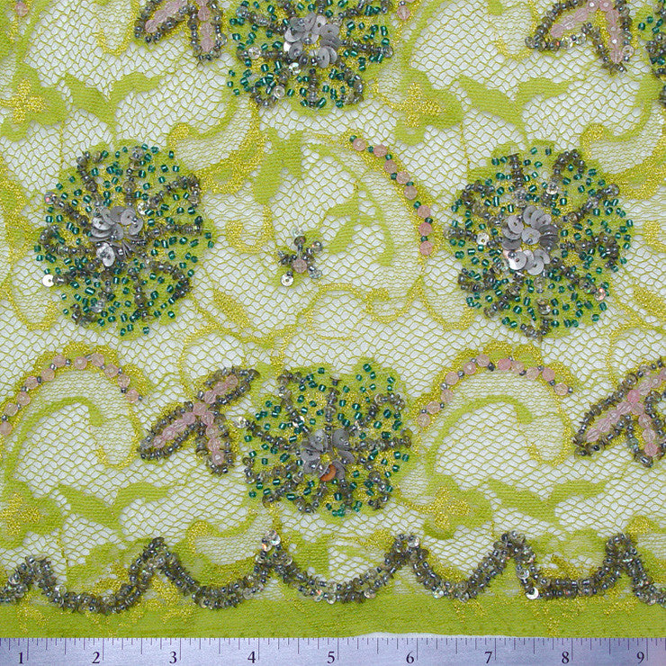 Fleurs Beaded Lace Green - NY Fashion Center Fabrics
