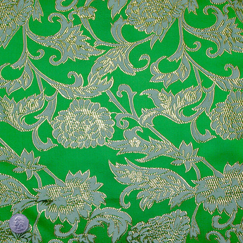 Floral Pop Brocade Green - NY Fashion Center Fabrics