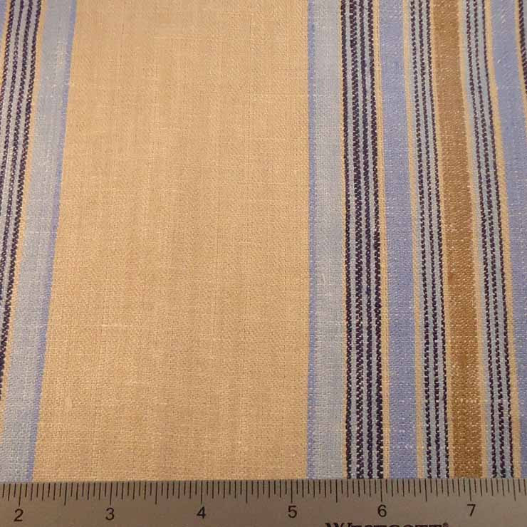 Multi Stripe Decor Linen H 7046 Taupe Blue - NY Fashion Center Fabrics