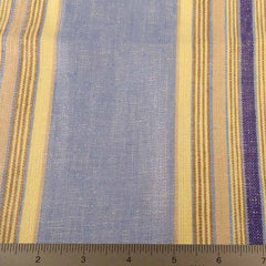 Multi Stripe Decor Linen H 7049 Blue Lemon - NY Fashion Center Fabrics