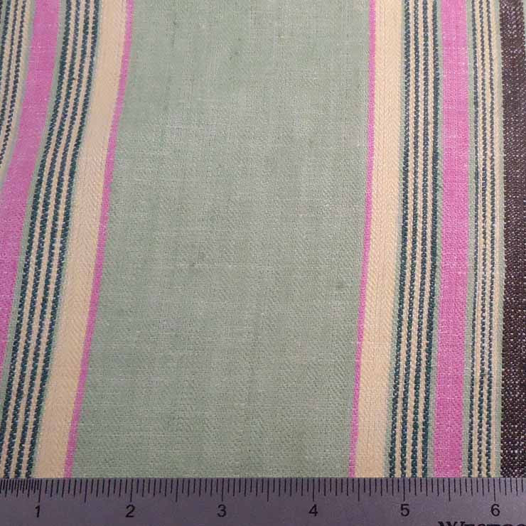 Multi Stripe Decor Linen H 7051 Green Pink - NY Fashion Center Fabrics