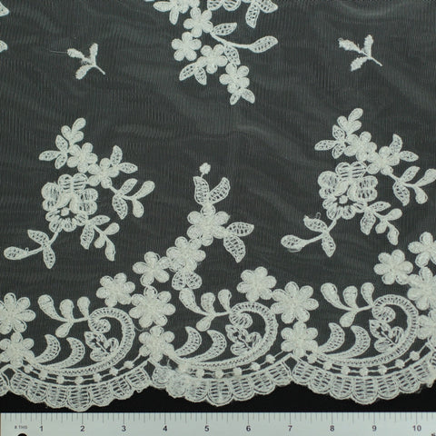 Double Scallop #80325W Ivory - NY Fashion Center Fabrics