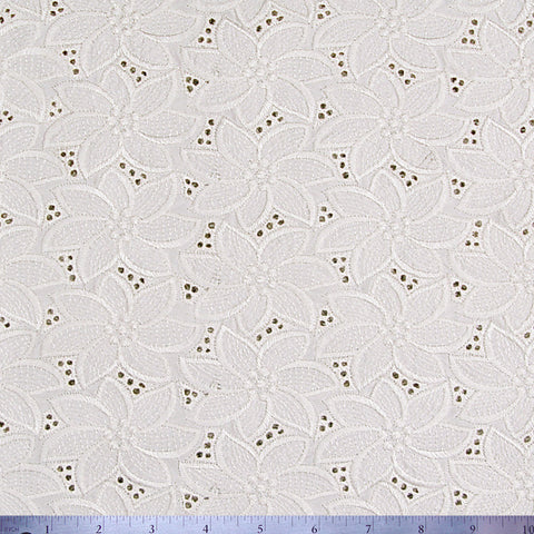 Silk Embroidered Floral Eyelet Ivory