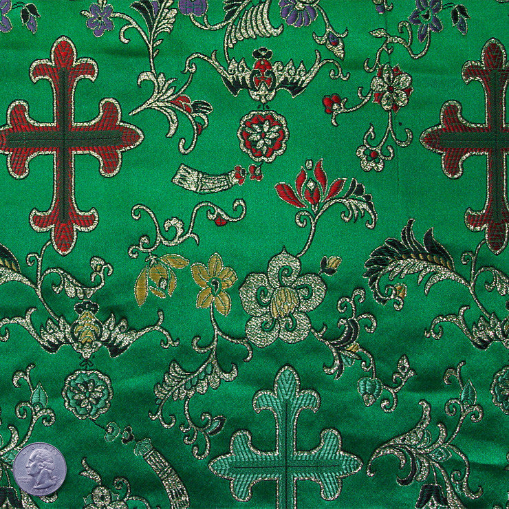 Silk Byzantine Brocade #2 Kelly Green