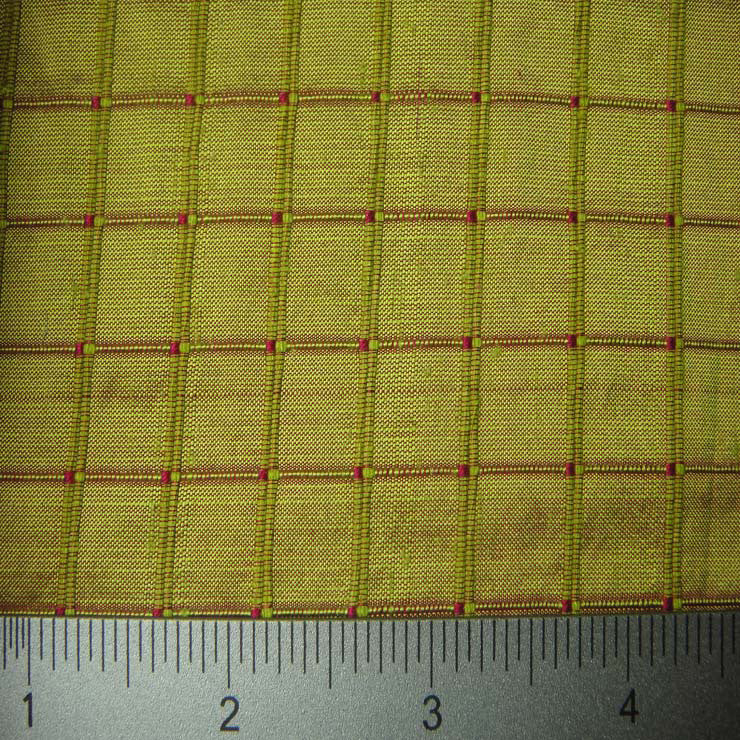 Silk Embroidered Grid Shantung LA05