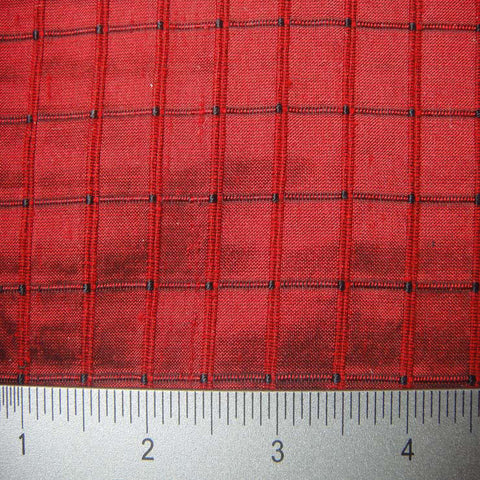 Silk Embroidered Grid Shantung LA08