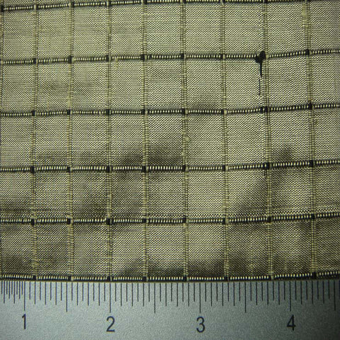 Silk Embroidered Grid Shantung LA18