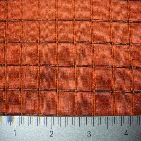 Silk Embroidered Grid Shantung LA19