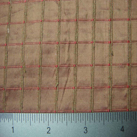 Silk Embroidered Grid Shantung LA24