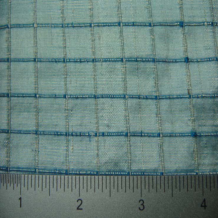 Silk Embroidered Grid Shantung LA39