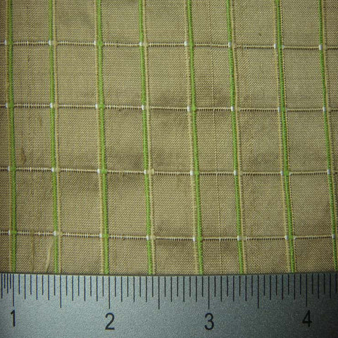 Silk Embroidered Grid Shantung LA45