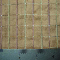 Silk Embroidered Grid Shantung LA47