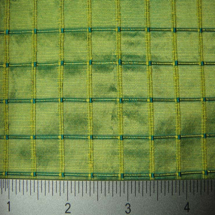 Silk Embroidered Grid Shantung LA56