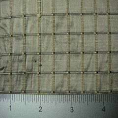 Silk Embroidered Grid Shantung LA66