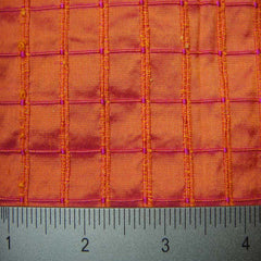Silk Embroidered Grid Shantung LA67