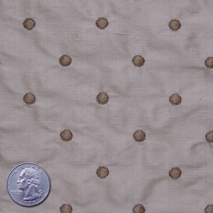 Silk Embroidered Dots Dupioni Light Brown On Beige