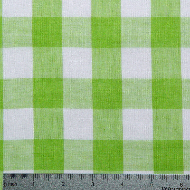 Cotton/Polyester Gingham Lime - NY Fashion Center Fabrics