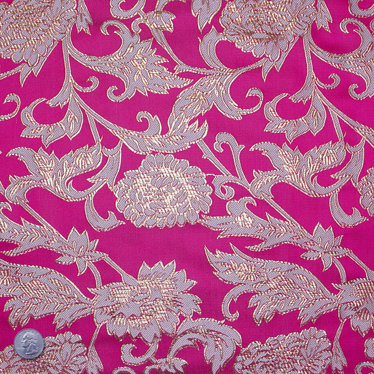 Floral Pop Brocade Magenta - NY Fashion Center Fabrics