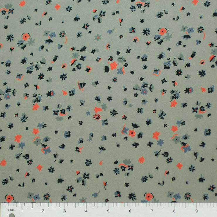 Silk Ditsy Floral Print Crepe De Chine Moss