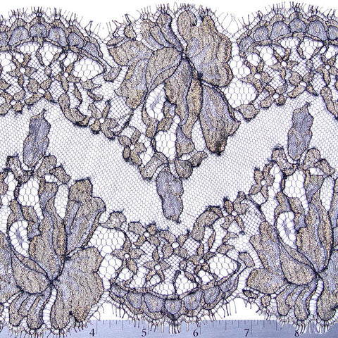 Chantilly Lace Trim 6 Inch Navy - NY Fashion Center Fabrics