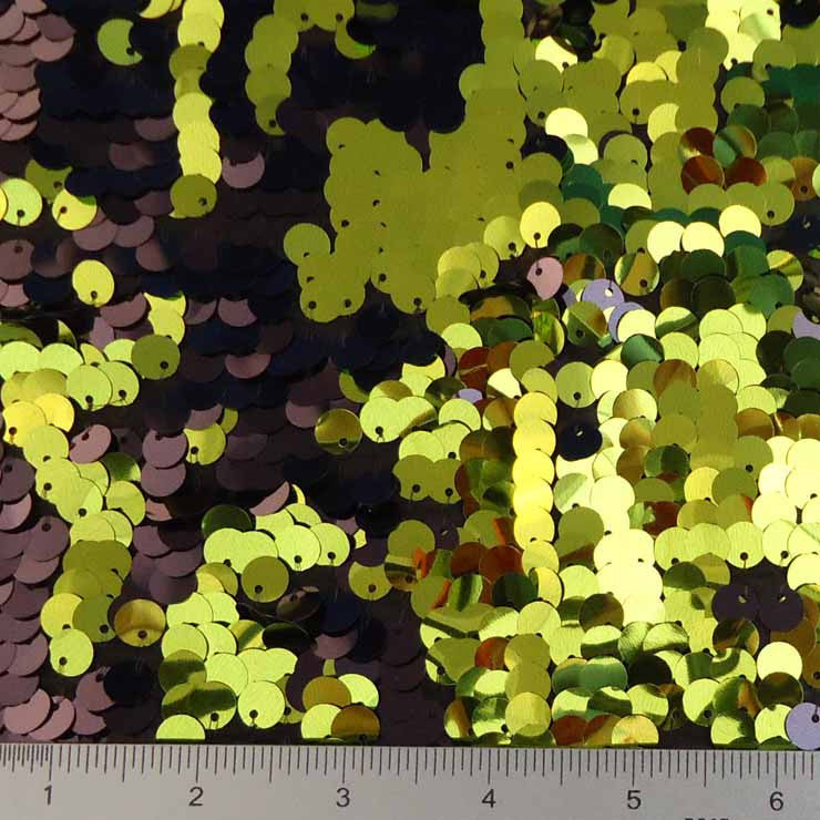 8mm Reversible Sequins Spandex Olive Black on Black - NY Fashion Center Fabrics