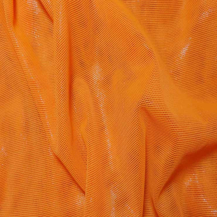 Nylon Metallic Stretch Mesh Orange - NY Fashion Center Fabrics