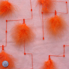 Polyester Embellished Feathers Organza Orange