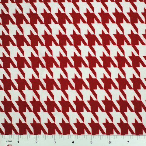 Houndstooth Print Spandex PS 2686 Red on White - NY Fashion Center Fabrics