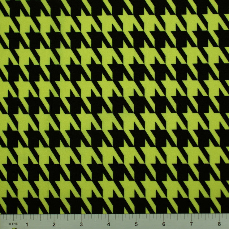 Houndstooth Print Spandex PS 2687 Neon on Black - NY Fashion Center Fabrics