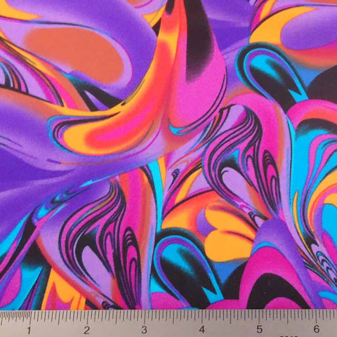 Psychedelic Print Fabric PS 3255 Purple