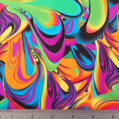 Psychedelic Print Fabric PS 3257 Lime