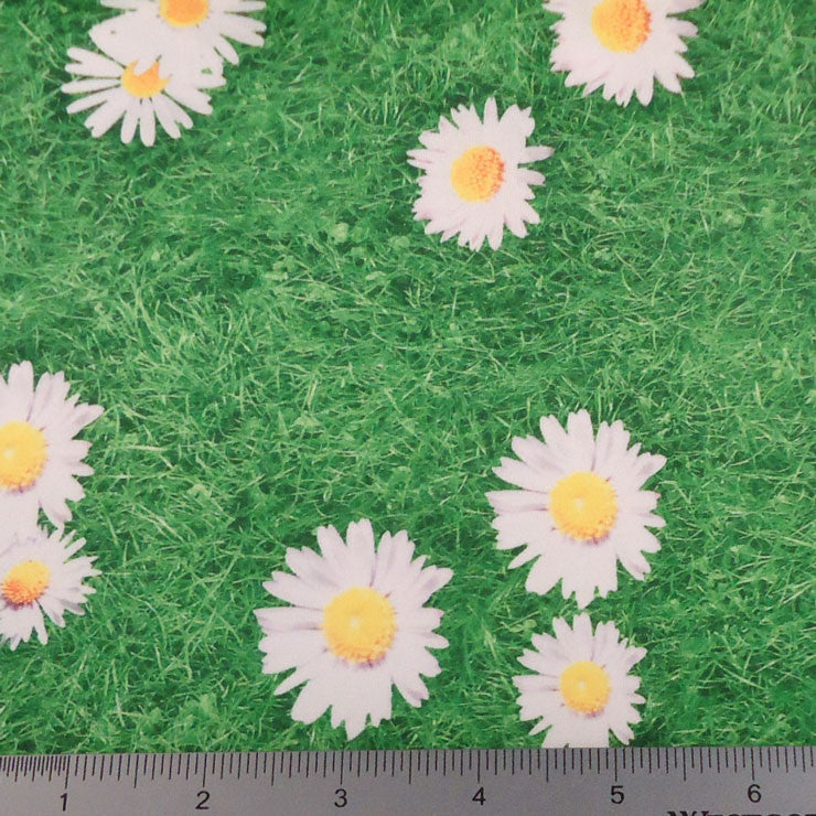 Daisy in the Grass Print Spandex PS 3628 Daisy Green - NY Fashion Center Fabrics