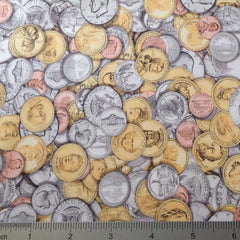 Money Print Spandex #2 PS 4067 Coins - NY Fashion Center Fabrics