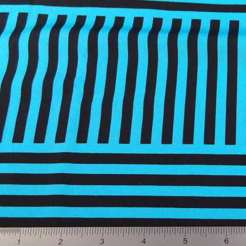 Geometric Line Print Spandex PS 4197 Turquoise - NY Fashion Center Fabrics