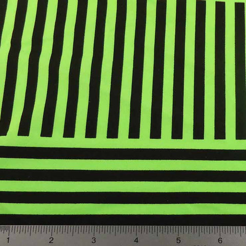 Geometric Line Print Spandex PS 4200 Lime - NY Fashion Center Fabrics