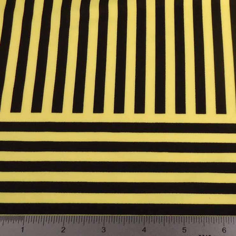 Geometric Line Print Spandex PS 4202 Yellow - NY Fashion Center Fabrics