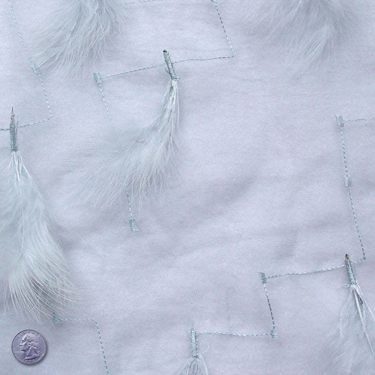 Polyester Embellished Feathers Organza Pale Ice