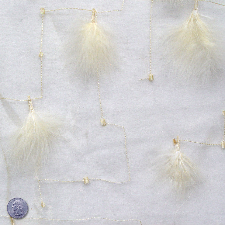 Polyester Embellished Feathers Organza Pale Yellow