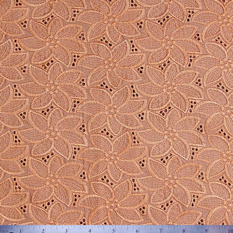 Silk Embroidered Floral Eyelet Peach