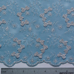 Embroidered Bows Lace Peacock - NY Fashion Center Fabrics